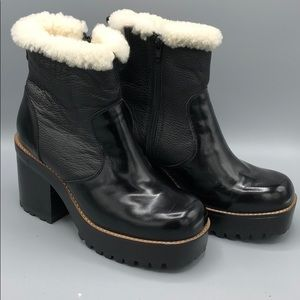 Jeffery Campbell Eureka Black Shearling Bootie 9.5
